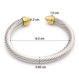 Fashion 6.5mm Stainless Steel Torque Bangle for Men