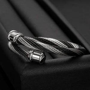 Chunky Black and Silver Contrast Fashion Stainless Steel Cuff Bangle For Men