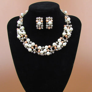 Chunky Pearl and Clear Crystal Diamante Necklace and Earrings Set