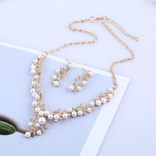 Load image into Gallery viewer, Pearl and Clear Crystal Diamante Necklace and Earrings Set