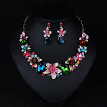 Load image into Gallery viewer, Statement Crystal Floral Necklace and Earrings Set
