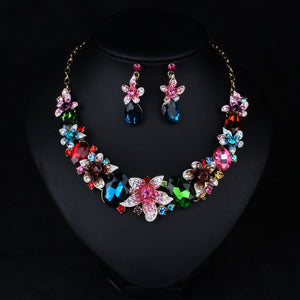 Statement Crystal Floral Necklace and Earrings Set