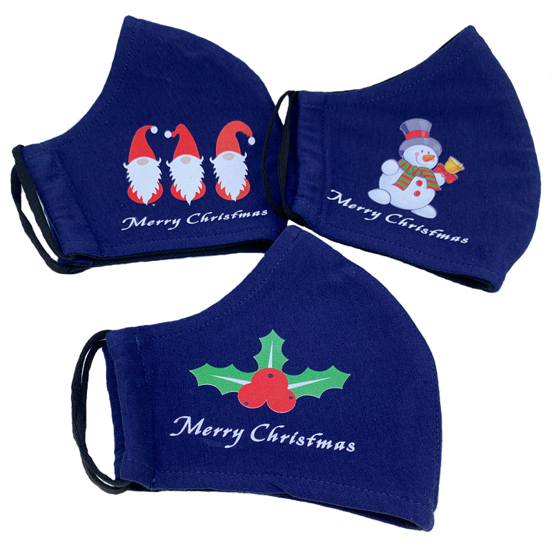 Christmas Double Layer Washable Re-Usable Cotton Face Masks Pack of 3 - Snowman, Holly and Elves
