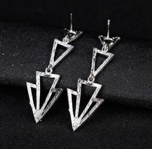 Load image into Gallery viewer, Women's Statement Triangle Crystal Earrings