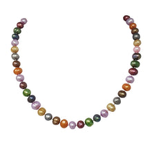 Load image into Gallery viewer, Simple 8-9mm Potato Shape Multi-coloured Pearl Necklace