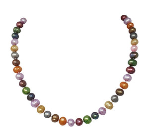 Simple 8-9mm Potato Shape Multi-coloured Pearl Necklace