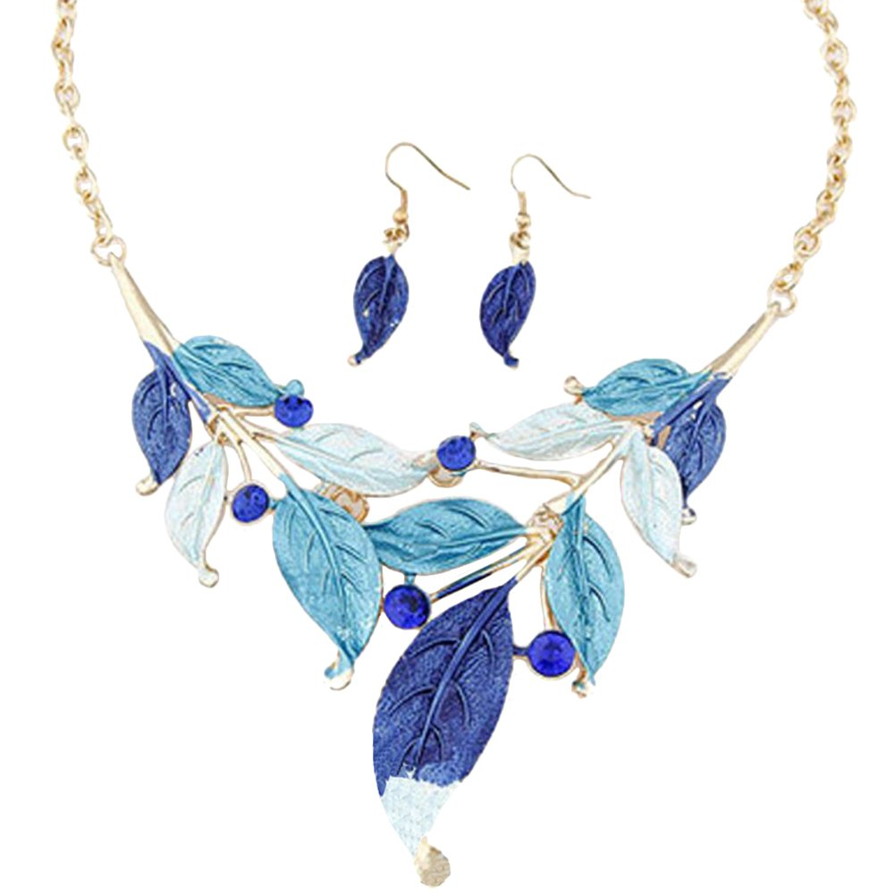 Blue leave costume necklace and earrings set