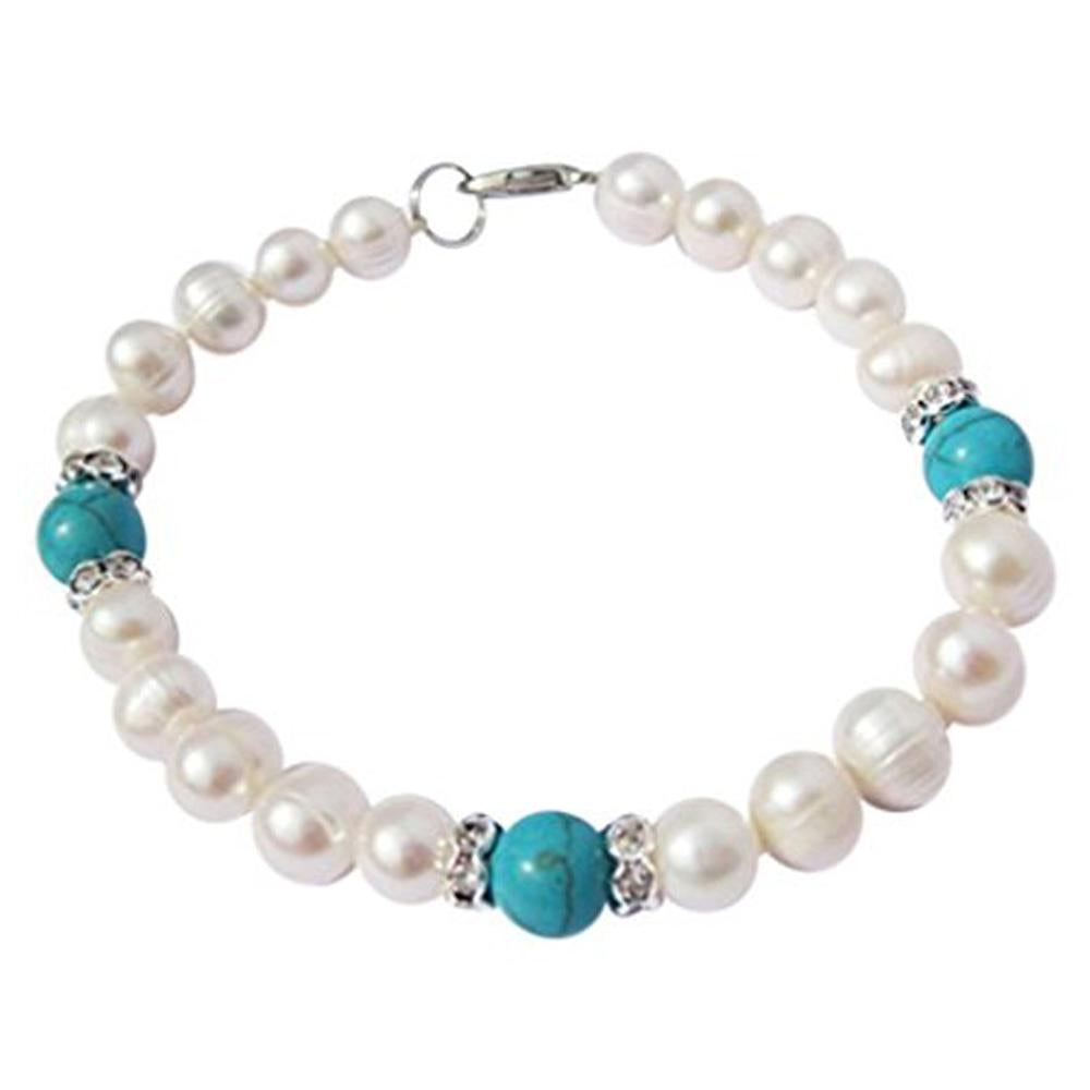 White Pearl and Turquoise Bracelet