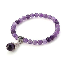 Load image into Gallery viewer, Amethyst Beaded Bracelet With Drop Charm
