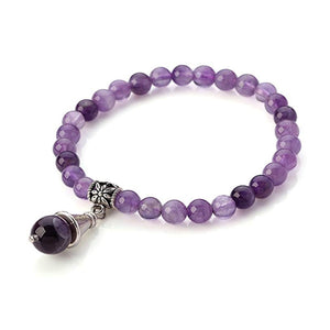Amethyst Beaded Bracelet With Drop Charm