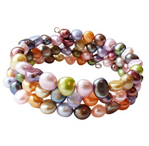 Multi-coloured Layered Pearl Bracelet for Women