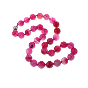 Pink agate gemstone necklace for women