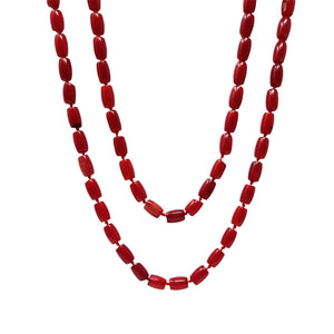 Natural Red Coral Beaded Necklace 120cm