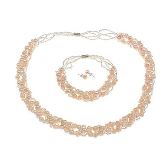 Natural Freshwater Pearl Necklace, Bracelet and Earrings Set