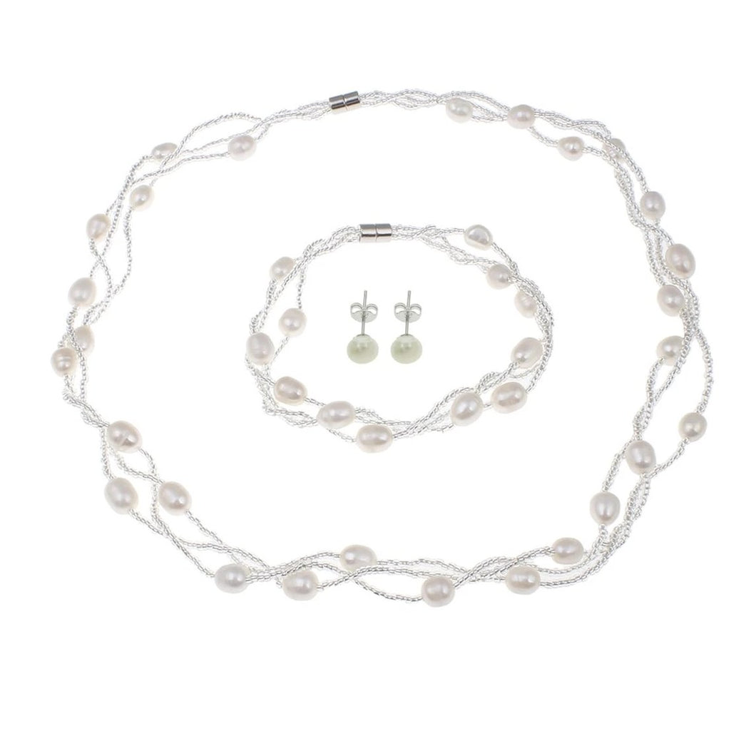 Natural White Freshwater Pearl Jewellery Tri-Set