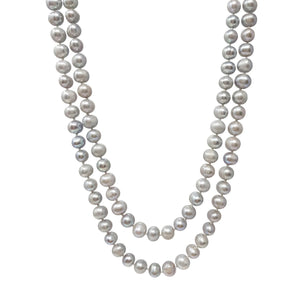 Long Gray pearl necklace for women