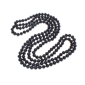 black pearl long necklace