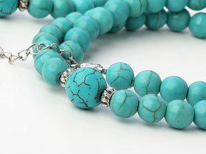 8-12mm Natural Turquoise Beaded Necklace & Bracelet Set