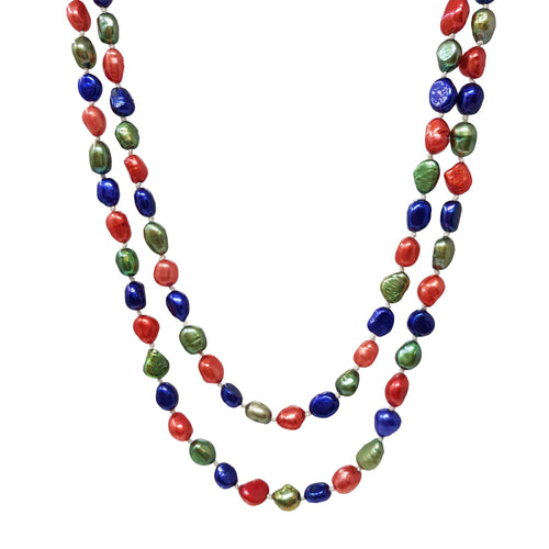 multicolor pearl necklace for women