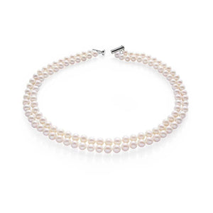 Handcrafted Two-row White Freshwater Pearl Necklace