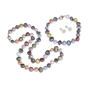 Multi-coloured Baroque Pearl Necklace, Bracelet and Earrings Set