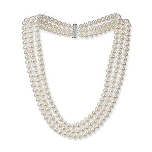 Original Three-layer 7mm AA Grade White Pearl Necklace
