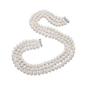 Three-layer 8-9mm White Pearl Necklace