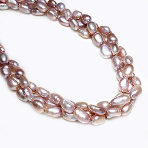 Chunky Modern Twisted Style 7-8mm Purple Baroque Pearl Necklace