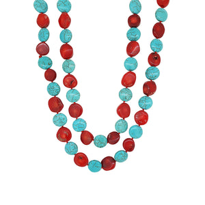 Natura Red Coral and Turequoise Gemstone Long Necklace