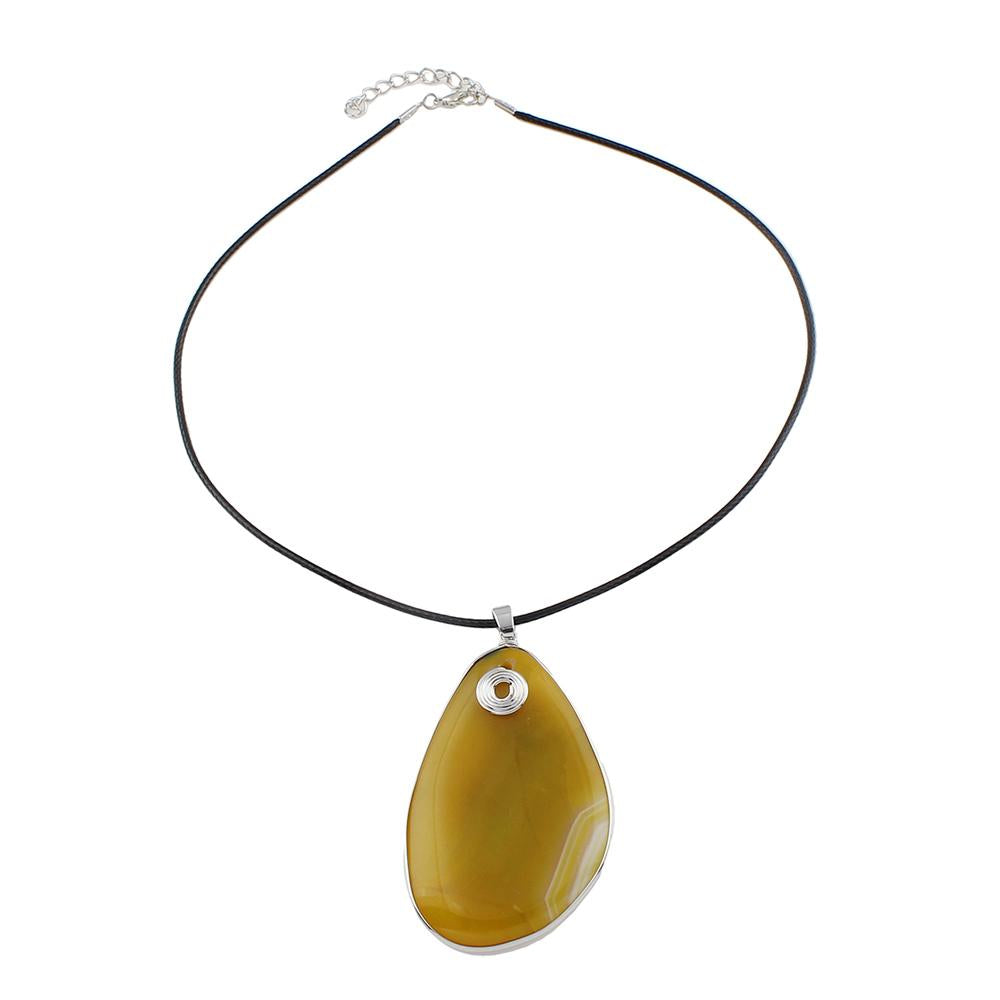 Natural Yellow Agate Pendant on Black Cord