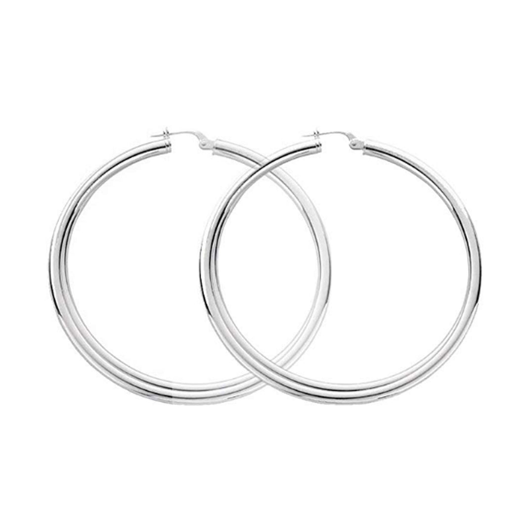 Large Hoop Earrings Sterling Silver