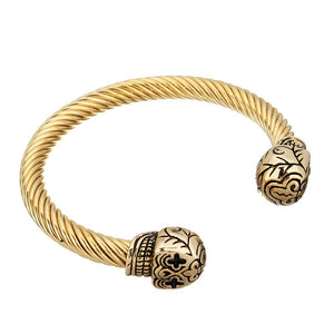 stainless steel skulls bangle for men
