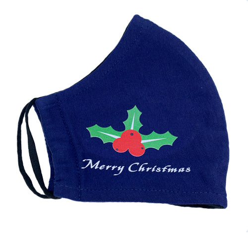 Christmas Double Layer Washable Re-Usable Cotton Face Mask - Holly