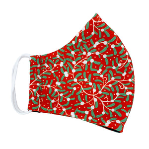 Christmas Double Layer Washable Re-Usable Cotton Face Mask - Mistletoe