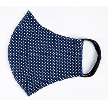 Load image into Gallery viewer, Double Layer Washable Re-Usable Cotton Face Mask- Polka Dot Navy