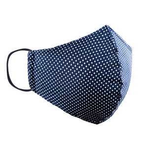 Double Layer Washable Re-Usable Cotton Face Mask- Polka Dot Navy