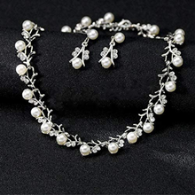 Load image into Gallery viewer, White Pearl and Clear Crystal Diamante Necklace Bracelet and Earrings Set