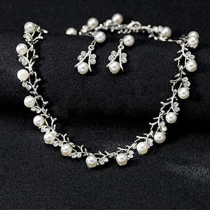 White Pearl and Clear Crystal Diamante Necklace Bracelet and Earrings Set