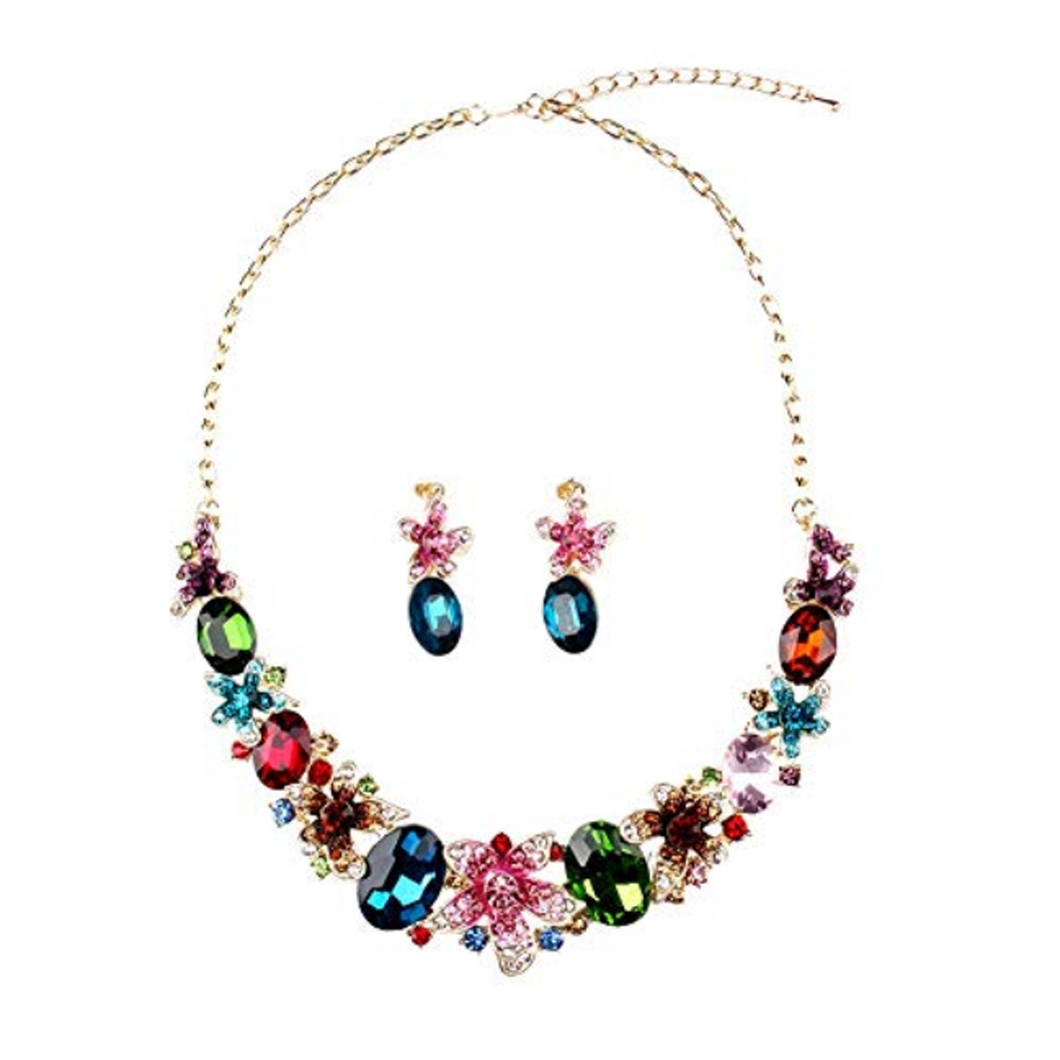 Multi coloured crystal necklace and earrings set