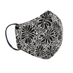 Double Layer Washable Re-Usable Cotton Face Mask - Batik White Daisy