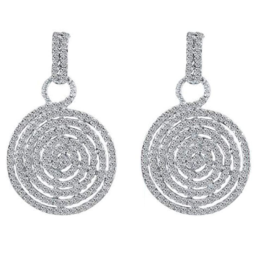 Diamante Crystal Circle Dangle Drop Earrings