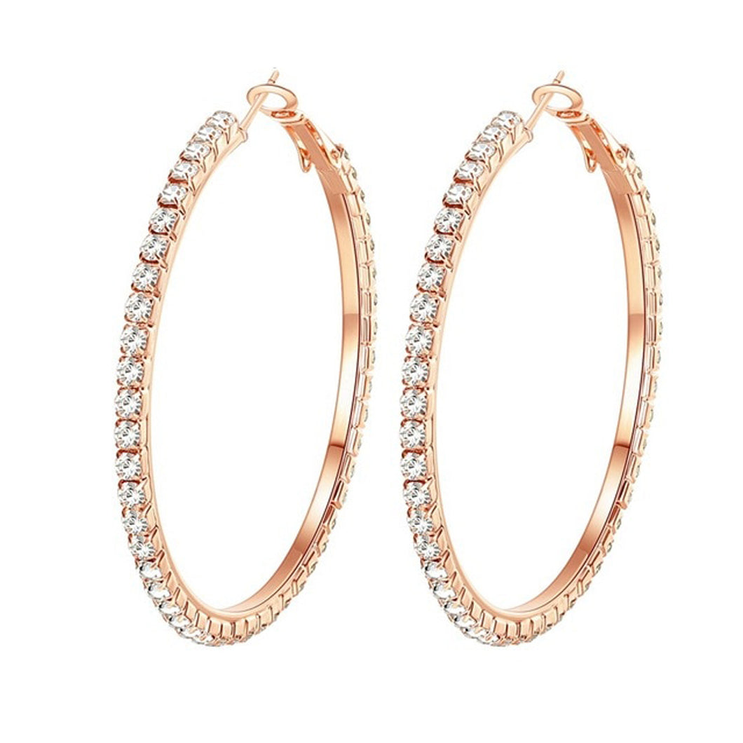 Diamante Crystal Hoop Earrings For Women and Girls Rose Gold Plated 5.5Cm