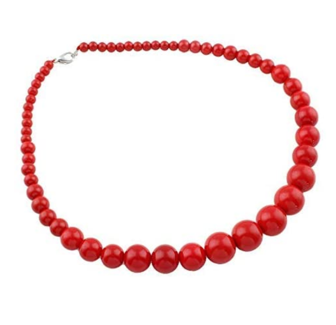 red beaded necklace for women