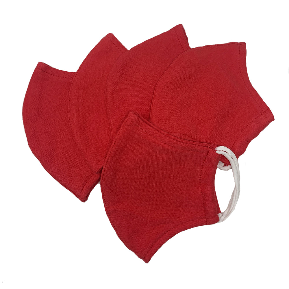 GARCOTEX Childrens 100% Cotton Double Layer Washable Re-usable Face Mask - Pack of 10 - RED