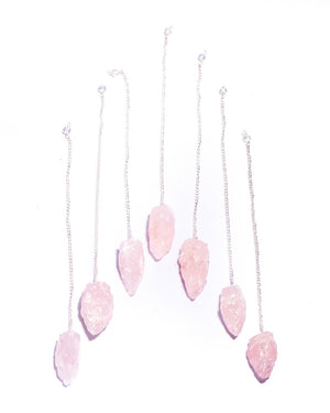 Raw Rose Quartz Pendulum