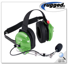 Load image into Gallery viewer, H42 Green 2-Way Radio Headset w/ PTT