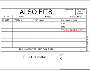 Yamaha YXZ 1000R Full Skids with Integrated Sliders 2016 - 2019
