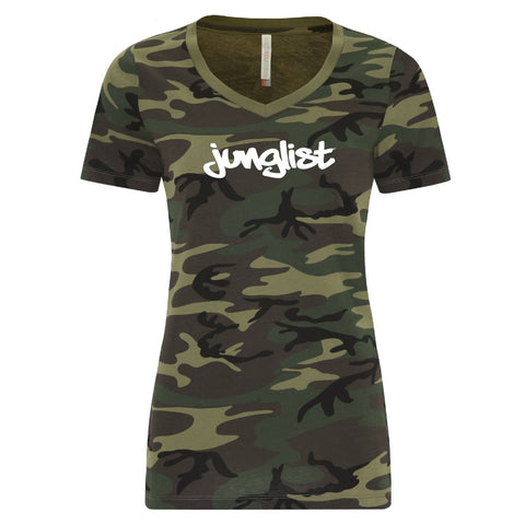 Camo Junglist - Women's V-Neck - 2 Colors - BEDLAM Threadz