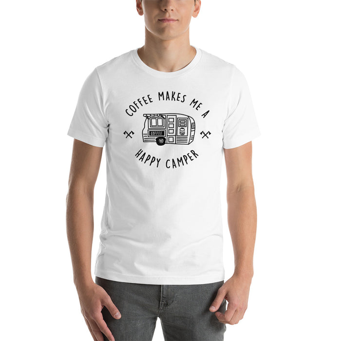 """Coffee Makes Me A Happy Camper""  Short-Sleeve Unisex T-Shirt"