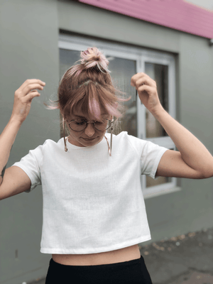 CROPPED TEE // WHITE HEMP